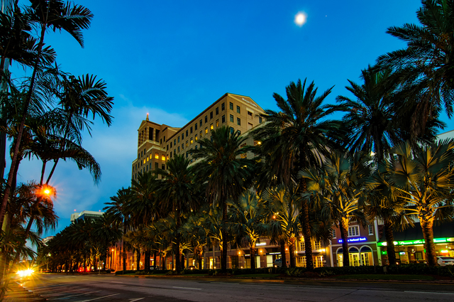 Coral Gables at night